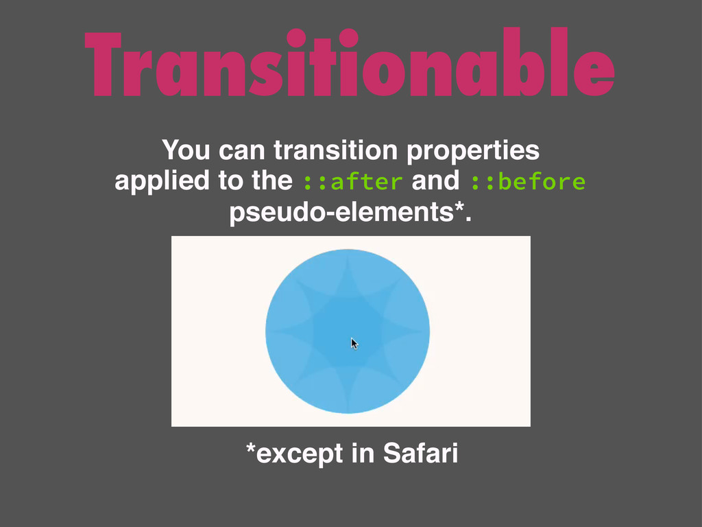 Transitionable You can transition properties ap...