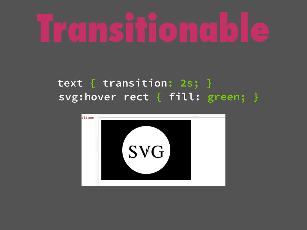Transitionable text { transition: 2s; } svg:hov...