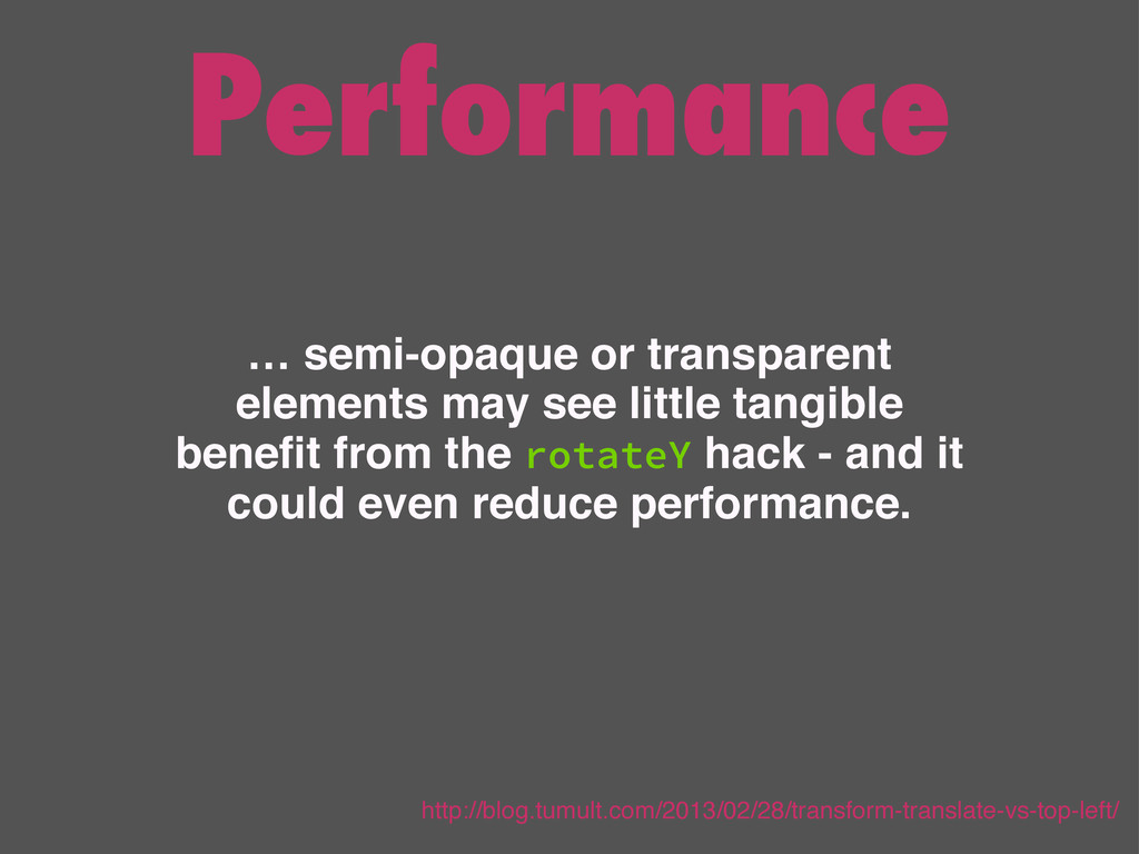 Performance … semi-opaque or transparent elemen...