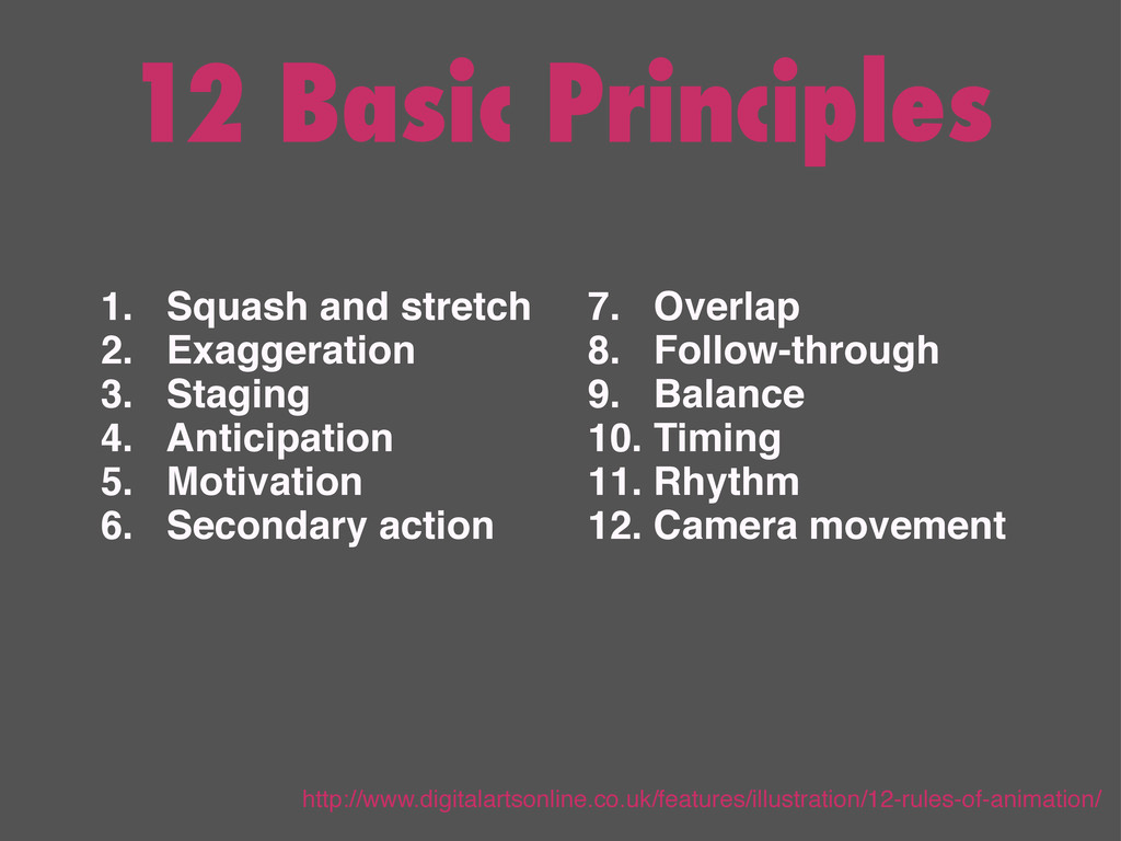 12 Basic Principles 1. Squash and stretch 2. Ex...