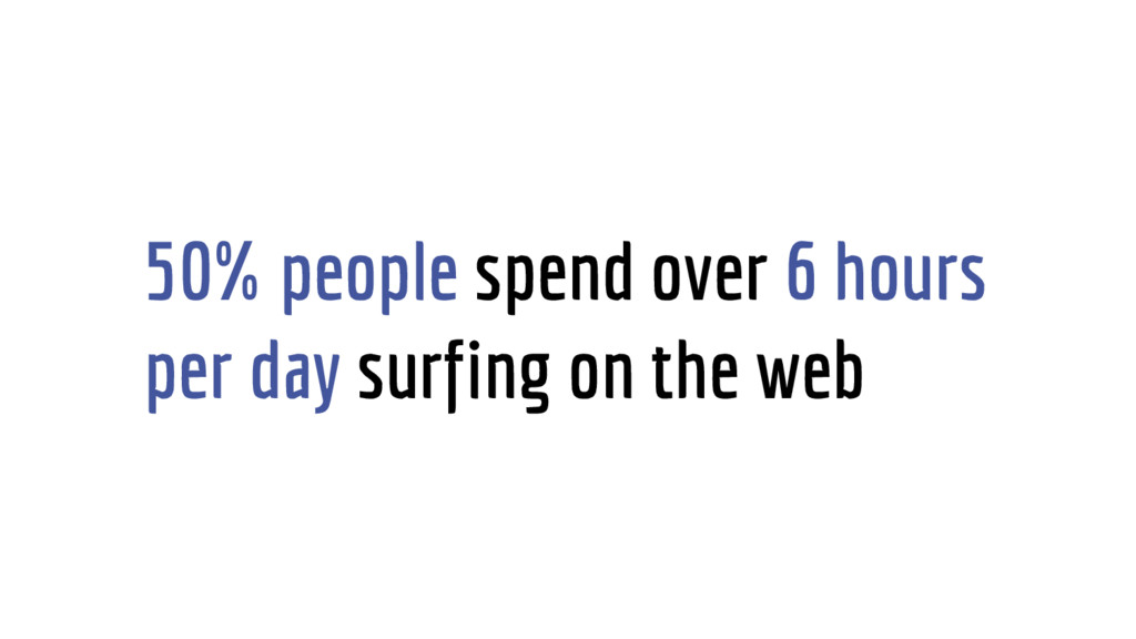 50% people spend over 6 hours per day surfing o...