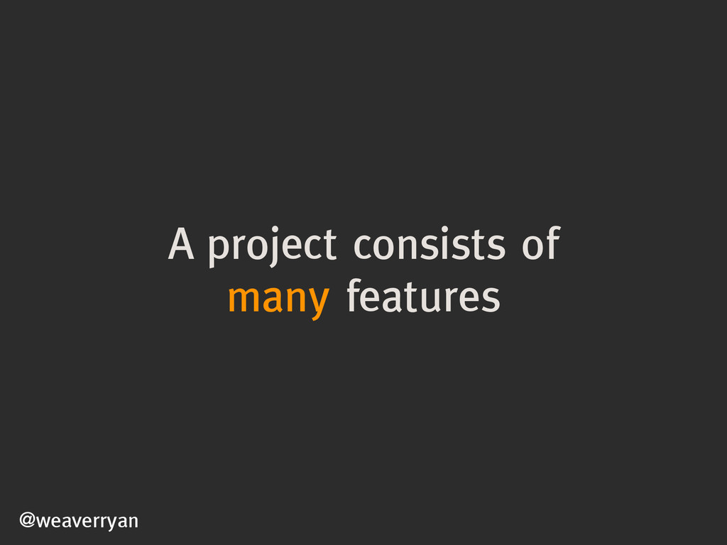A project consists of many features @weaverryan
