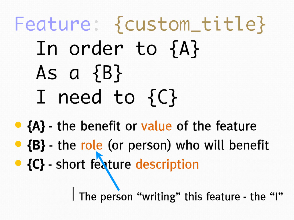 Feature: {custom_title} In order to {A} As a {B...