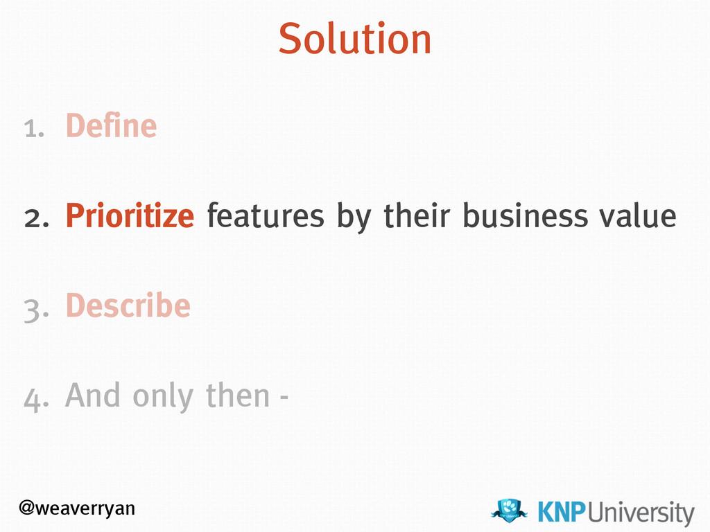 @weaverryan Solution 1. Define ! 2. Prioritize ...