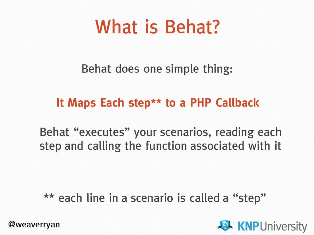 @weaverryan What is Behat? Behat does one simpl...