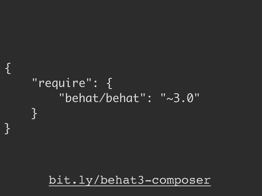 """{ """"require"""": { """"behat/behat"""": """"~3.0"""" } } bit.ly..."""