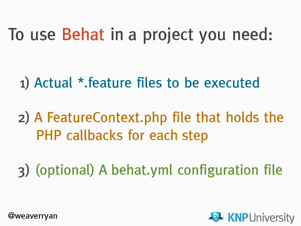 @weaverryan To use Behat in a project you need:...