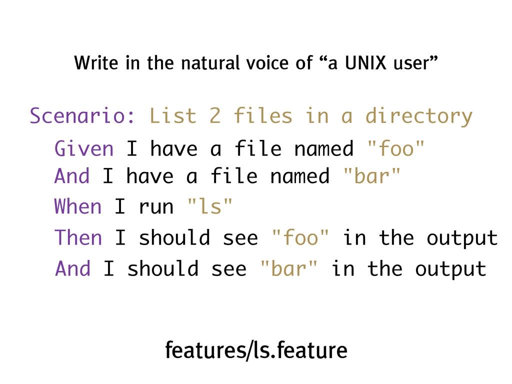 Scenario: List 2 files in a directory Write in ...