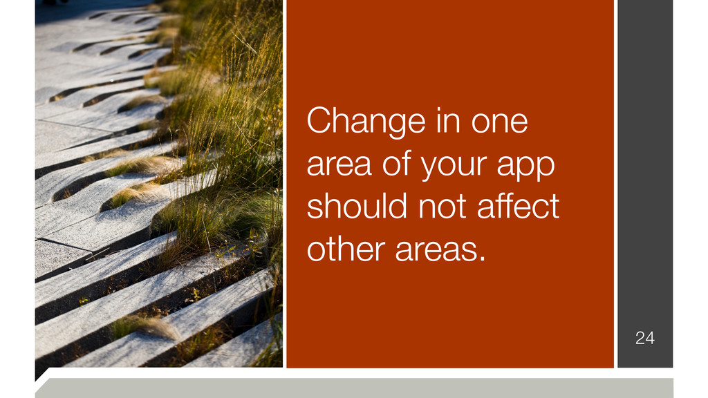 Change in one area of your app should not affec...