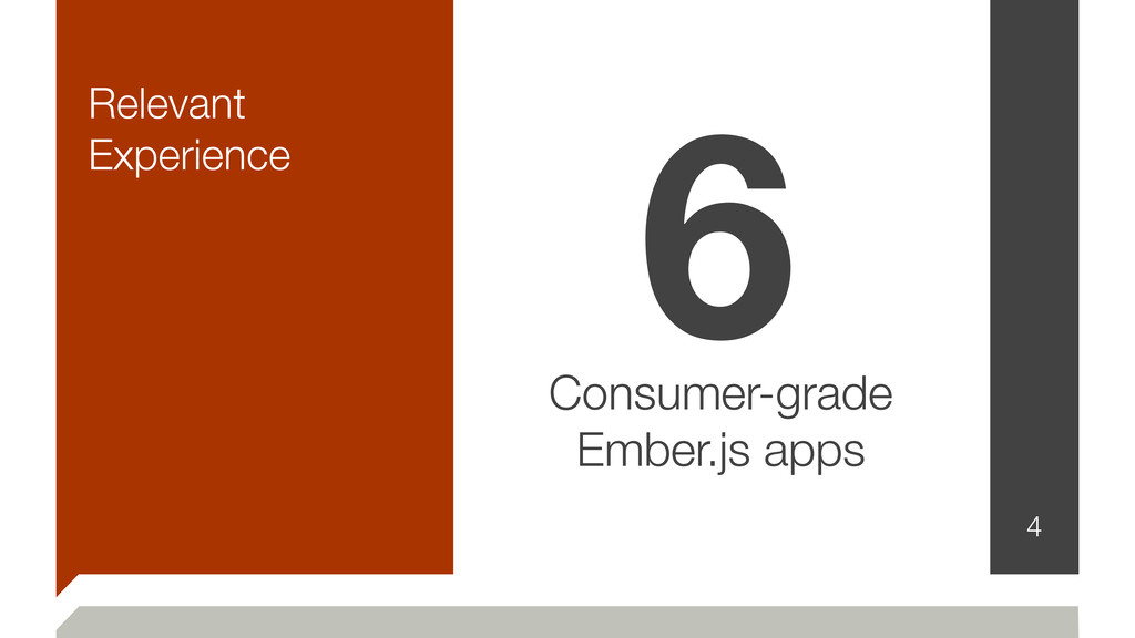 Relevant Experience 4 6 Consumer-grade Ember.js...