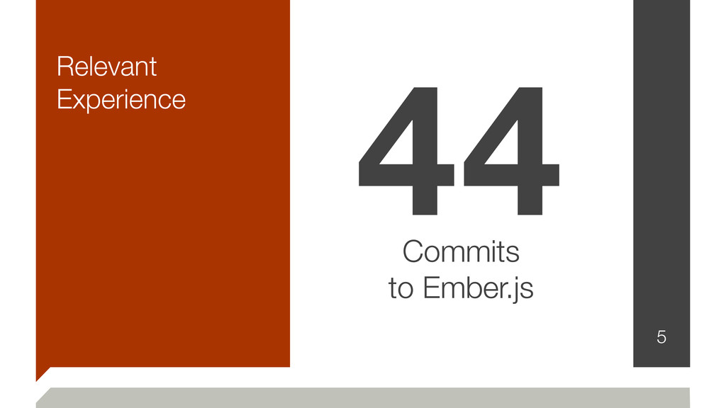 Relevant Experience 5 44 Commits to Ember.js