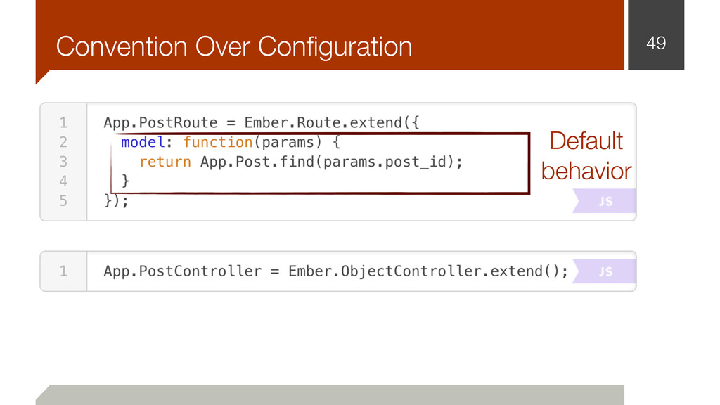 Convention Over Configuration 49 Default behavior