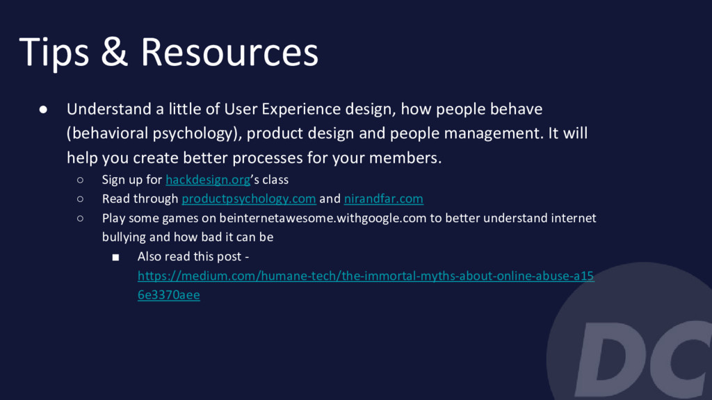 Tips & Resources ● Understand a little of User ...