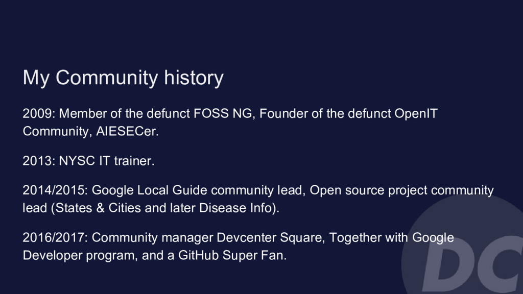 My Community history 2009: Member of the defunc...