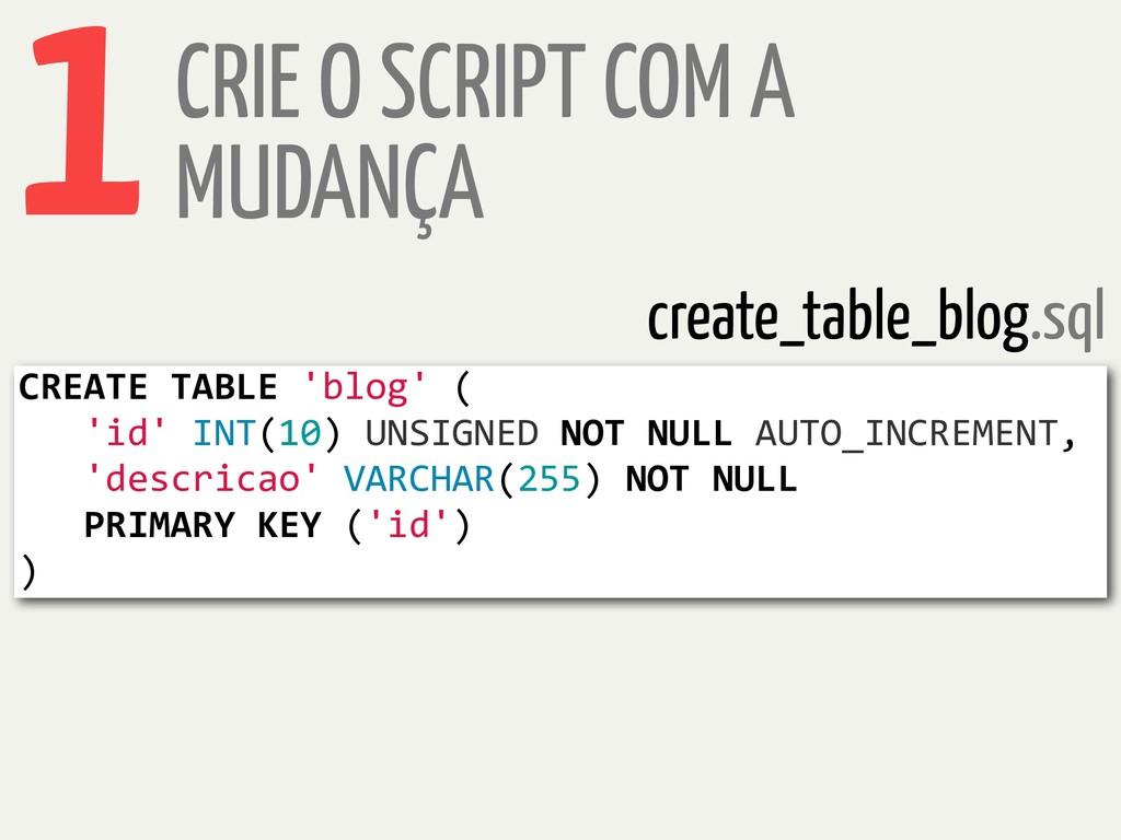 CRIE O SCRIPT COM A MUDANÇA 1 CREATE TABLE 'blo...