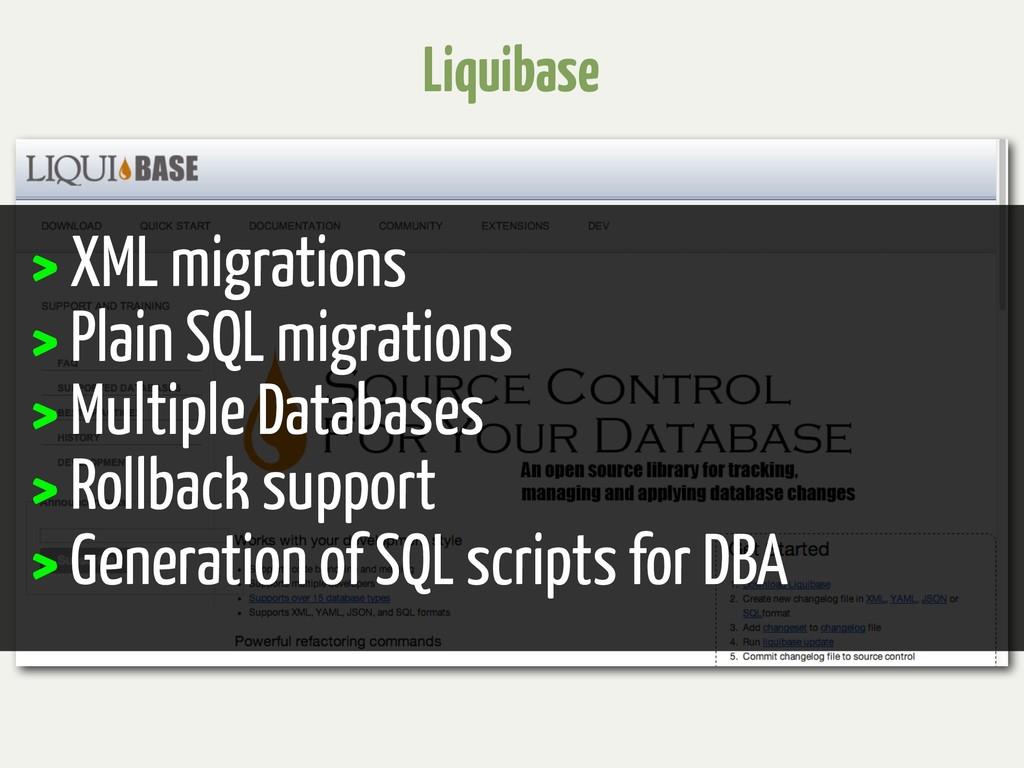 Liquibase > XML migrations > Plain SQL migratio...