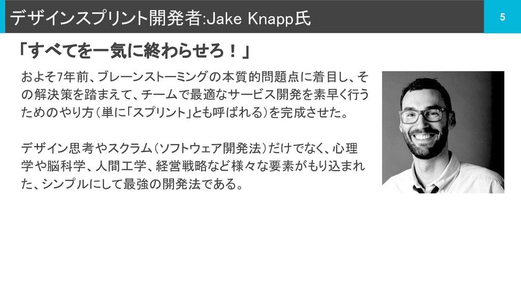 デザインスプリント開発者:Jake Knapp氏 およそ7年前、ブレーンストーミングの本質的問...