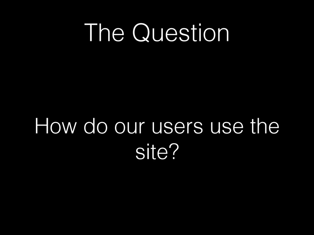The Question How do our users use the site?