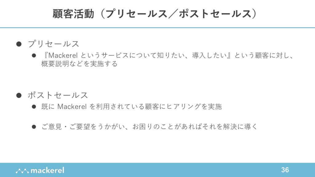 36 l プリセールス l 『Mackerel というサービスについて知りたい、導⼊したい』と...