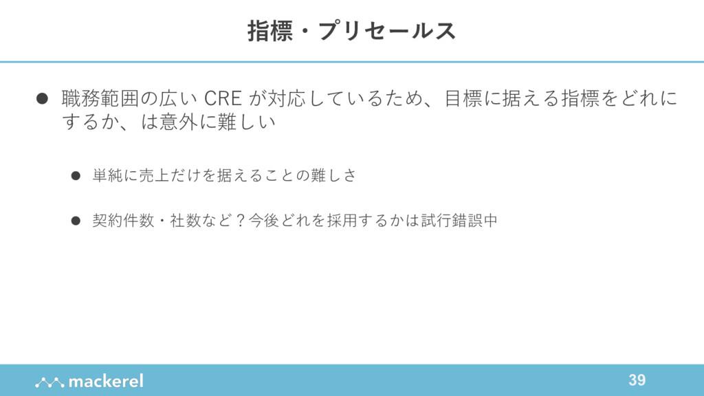 39 l 職務範囲の広い CRE が対応しているため、⽬標に据える指標をどれに するか、は意外...