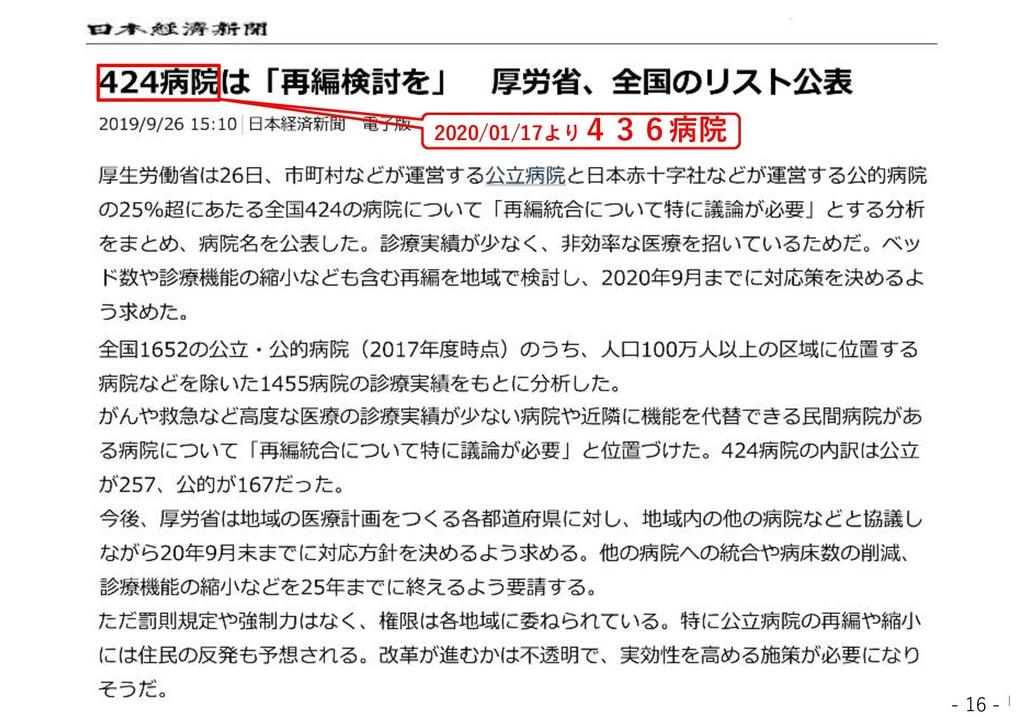 - 16 - 2020/01/17より436病院