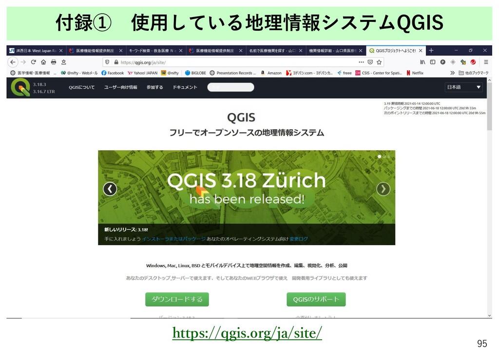 付録① 使用している地理情報システムQGIS 95 https://qgis.org/ja/s...