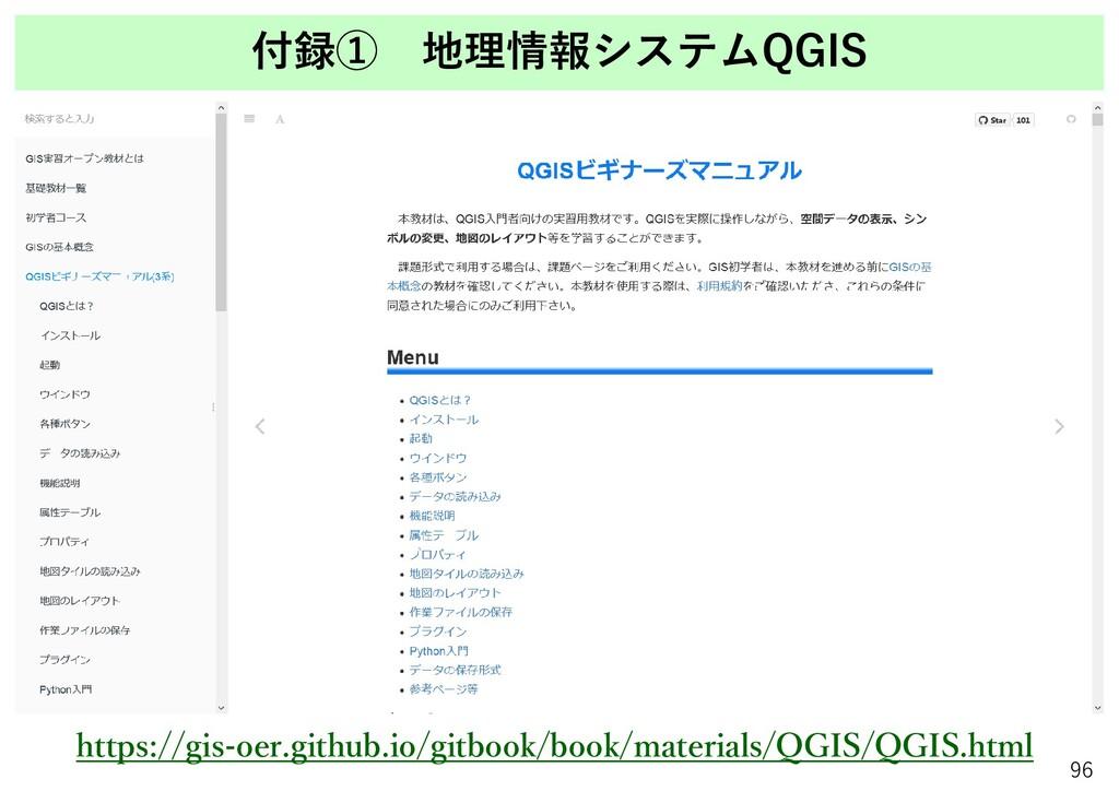 付録① 地理情報システムQGIS 96 https://gis-oer.github.io/g...
