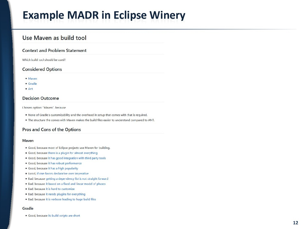 12 Example MADR in Eclipse Winery