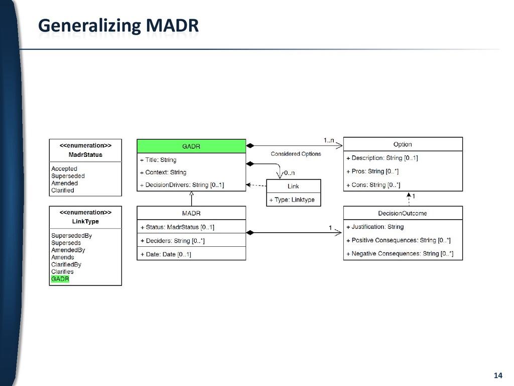 14 Generalizing MADR