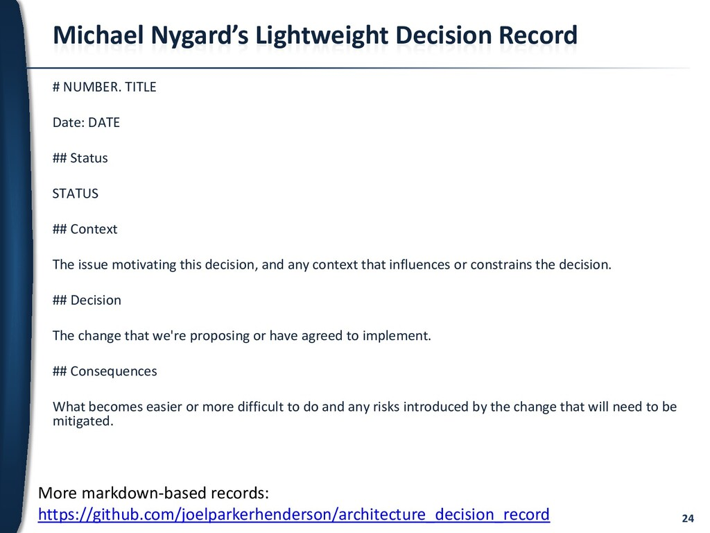 24 Michael Nygard's Lightweight Decision Record...