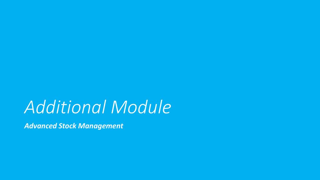 Additional Module Advanced Stock Management