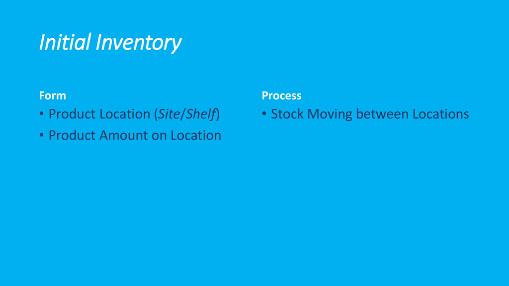 Initial Inventory Form • Product Location (Site...