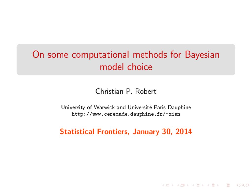 On some computational methods for Bayesian mode...