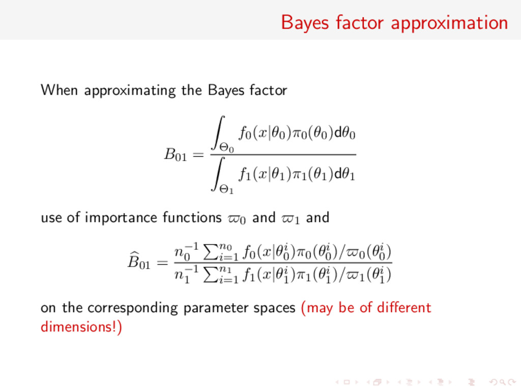 Bayes factor approximation When approximating t...