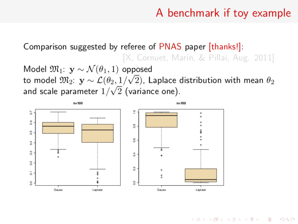 A benchmark if toy example Comparison suggested...