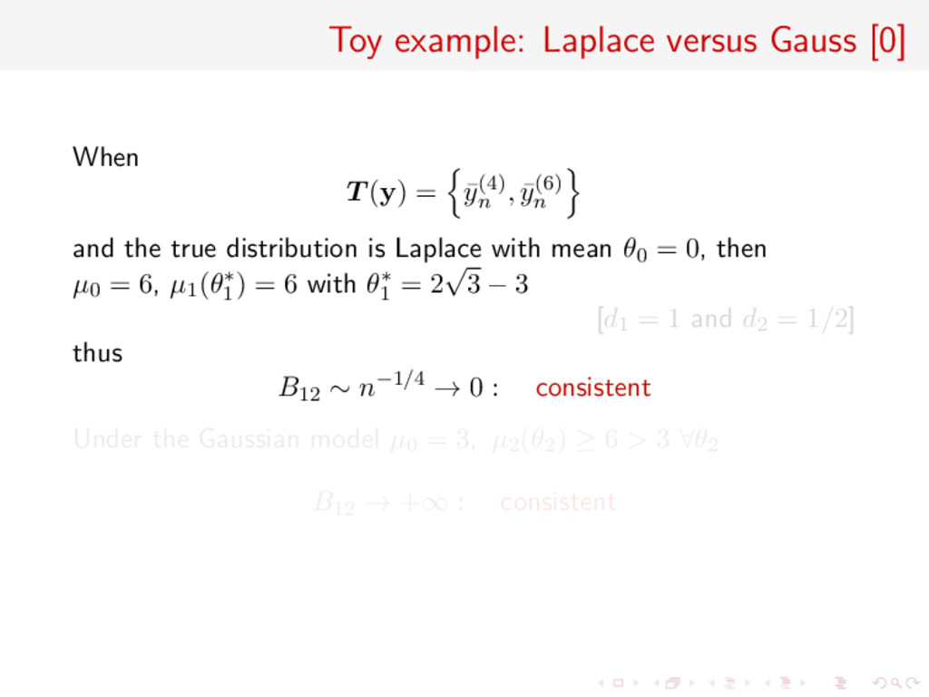 Toy example: Laplace versus Gauss [0] When T (y...