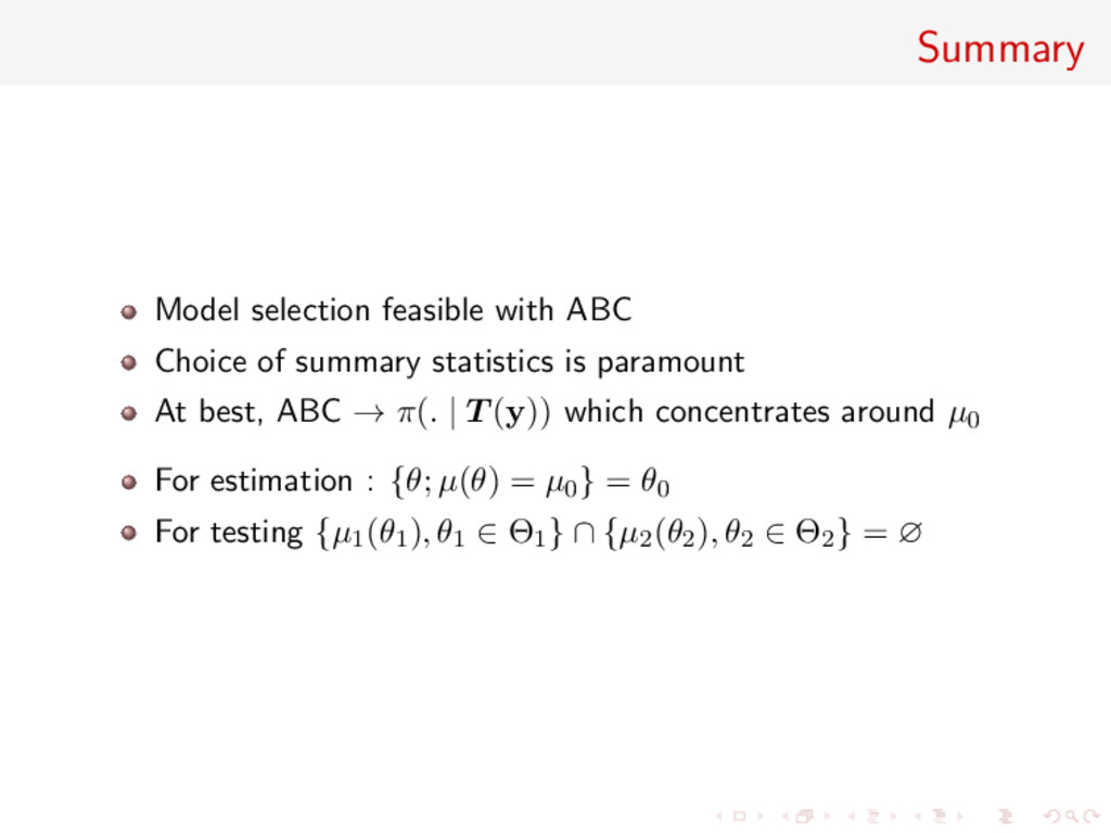 Summary Model selection feasible with ABC Choic...