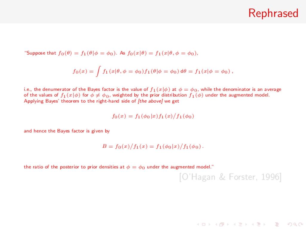 "Rephrased ""Suppose that f0(θ) = f1(θ|φ = φ0). A..."