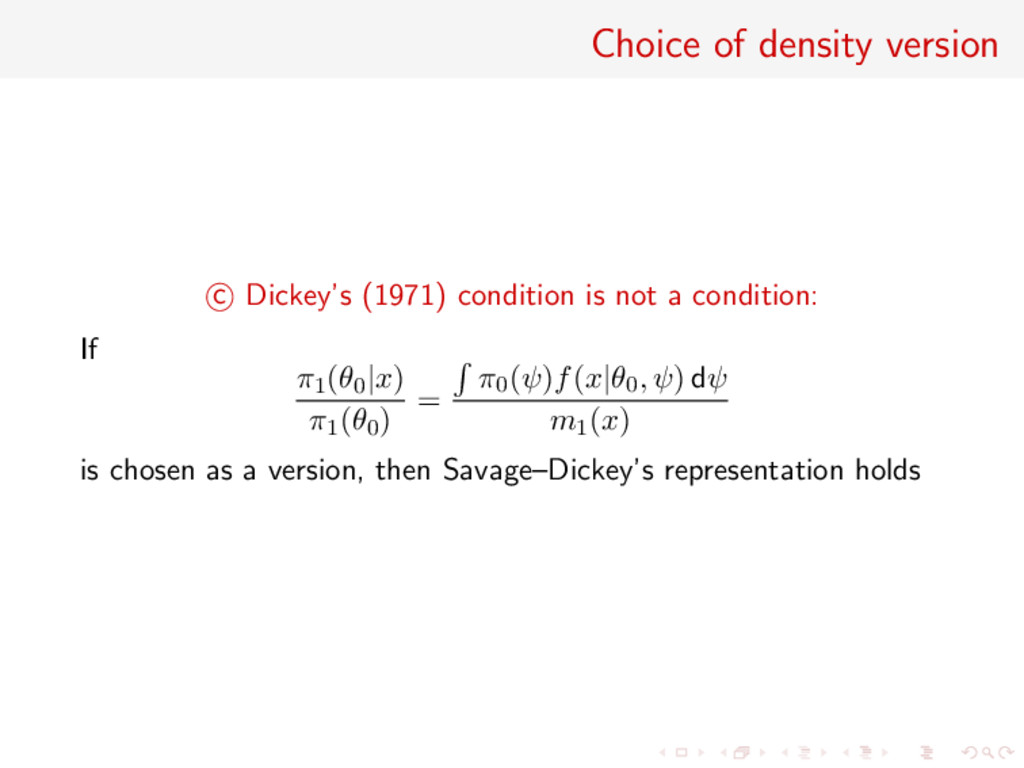 Choice of density version c Dickey's (1971) con...