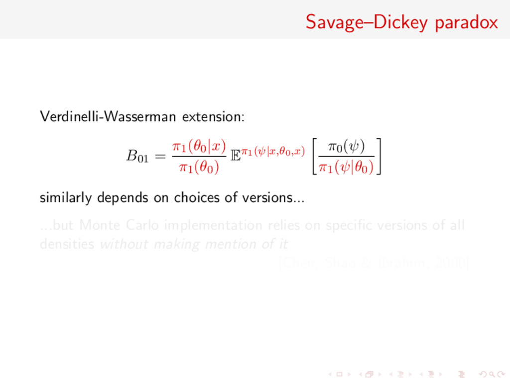 Savage–Dickey paradox Verdinelli-Wasserman exte...