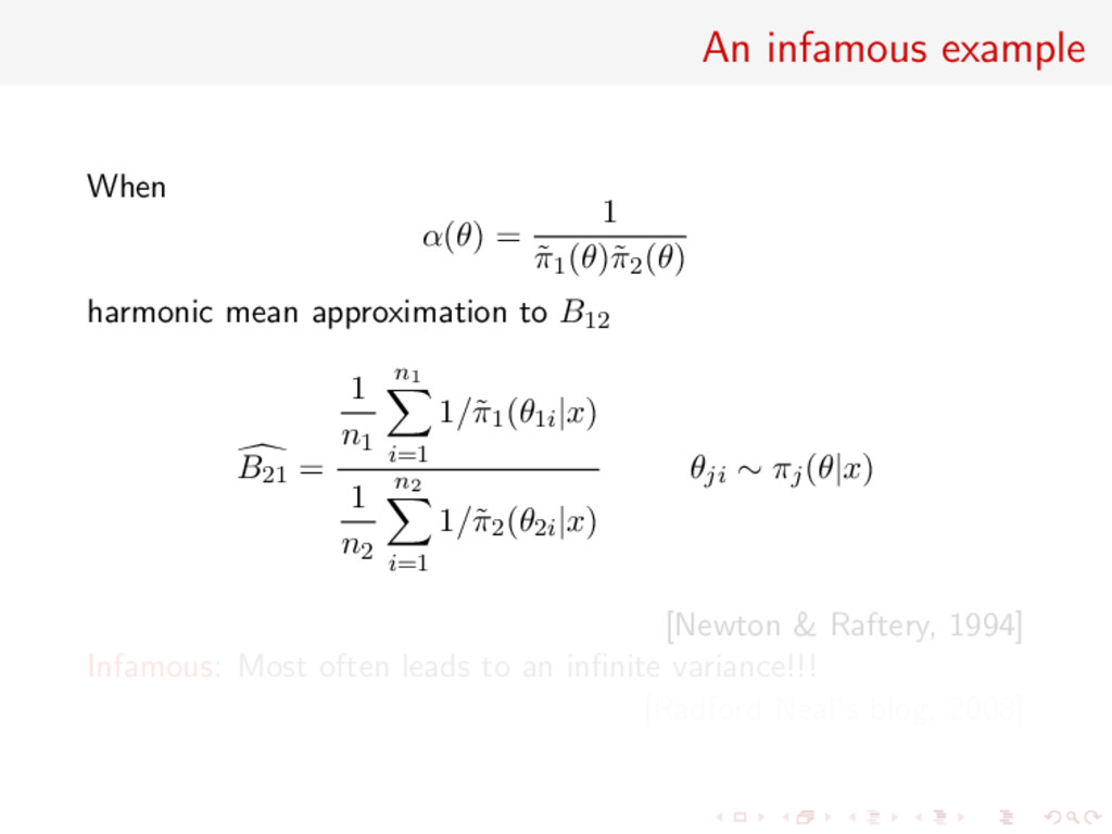 An infamous example When α(θ) = 1 ˜ π1(θ)˜ π2(θ...