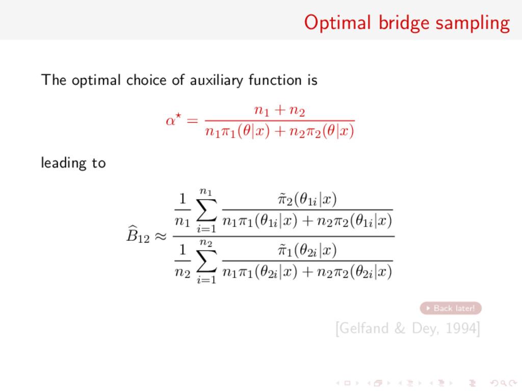 Optimal bridge sampling The optimal choice of a...