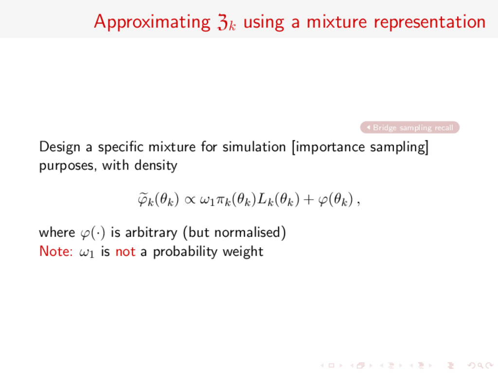 Approximating Zk using a mixture representation...