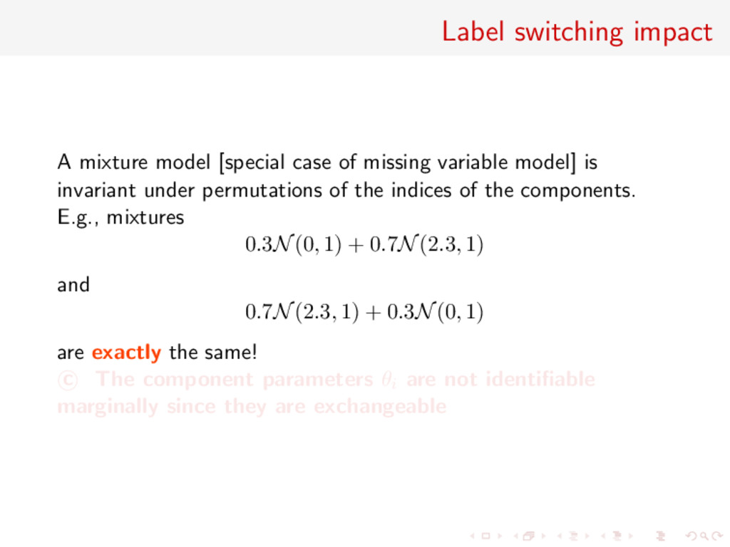 Label switching impact A mixture model [special...