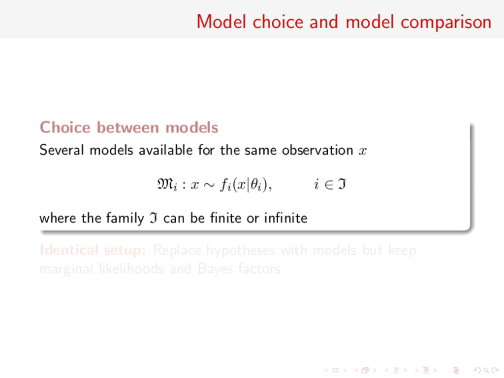 Model choice and model comparison Choice betwee...