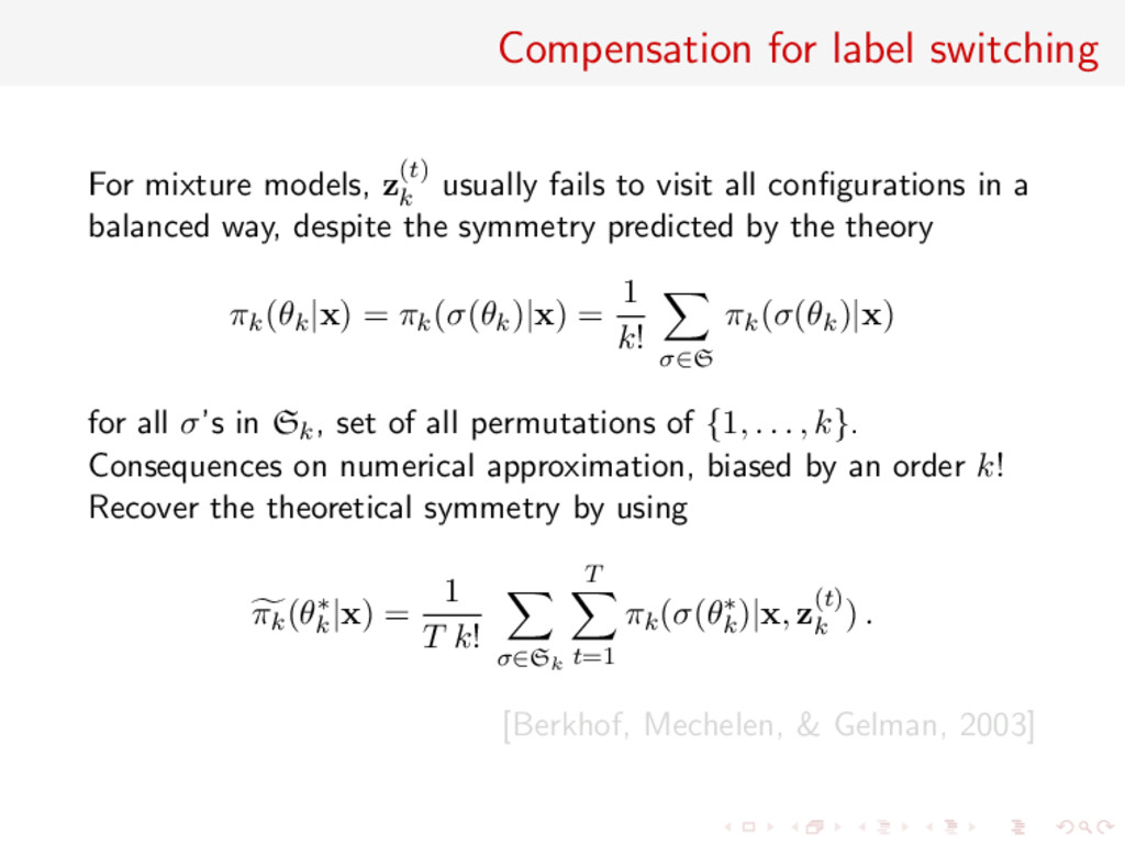Compensation for label switching For mixture mo...