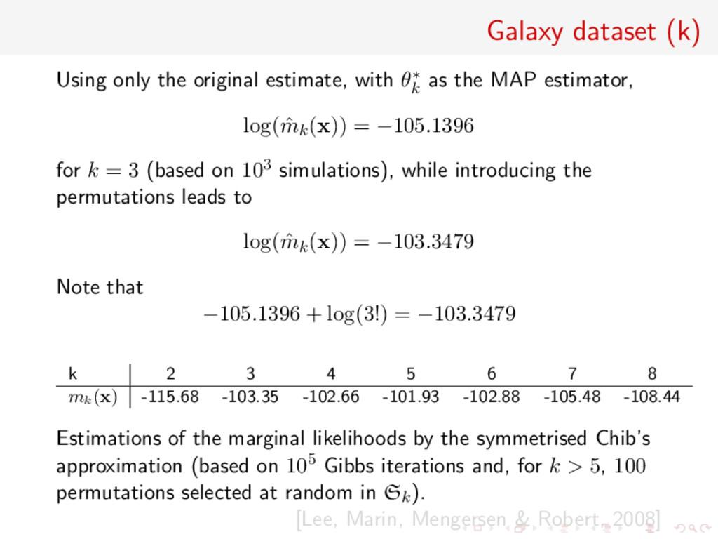 Galaxy dataset (k) Using only the original esti...