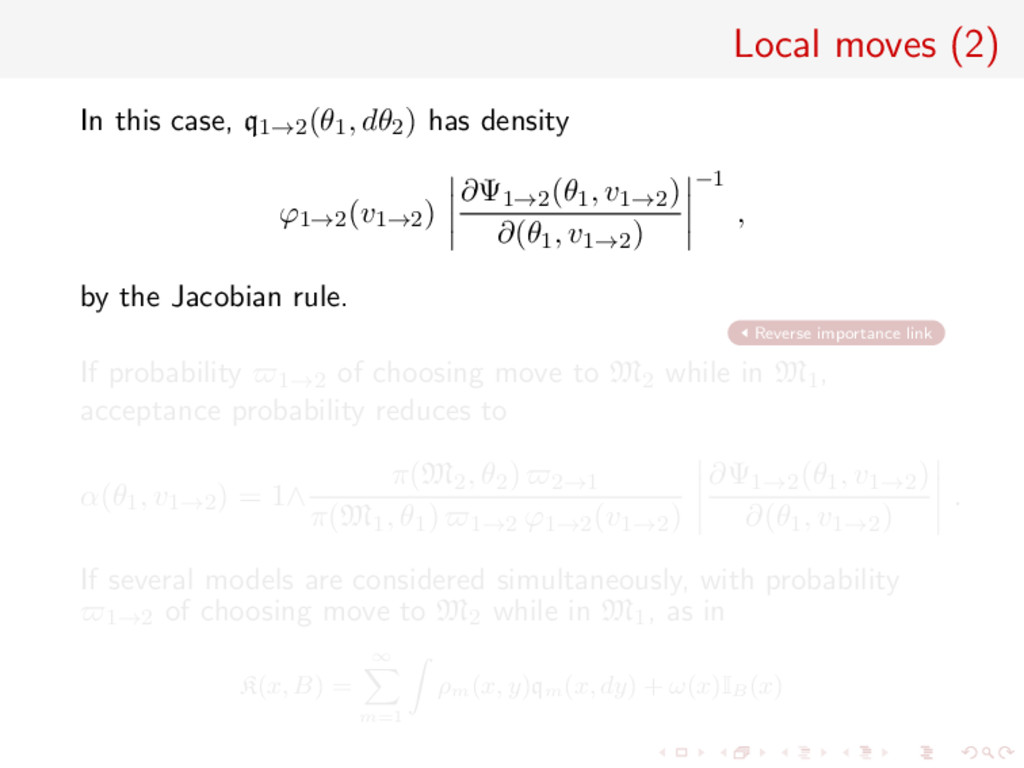 Local moves (2) In this case, q1→2(θ1, dθ2) has...