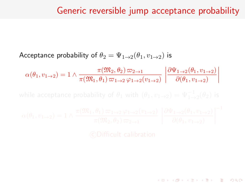Generic reversible jump acceptance probability ...
