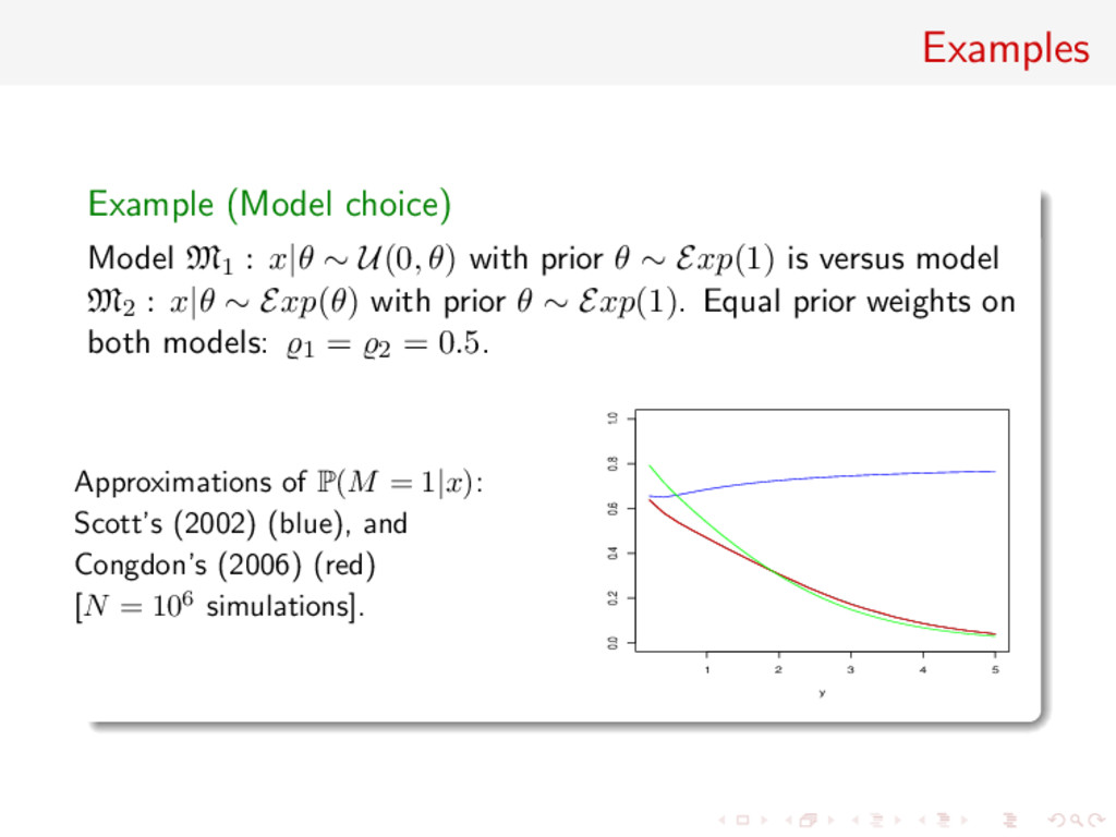 Examples Example (Model choice) Model M1 : x|θ ...